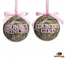 REDNECK PRINCESS & COUNTRY GIRL Camo Christmas Ornaments, set of 2