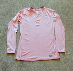 """NikePro """"NikeFIT"""" Pink Women's Fitted Stretch Long-Sleeve Stretchy Top Size M"""