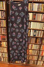 Laura Ashley Navy Blue Floral Sleeveless Long Maxi Dress Silk Ladies 14 (bin71)