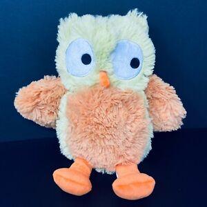 Lambs & Ivy Yellow Green & Brown Owl Plush Orange Feet Shaggy Baby Lovey Stuffed