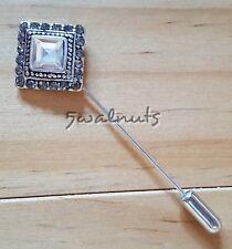Antique SILVER look Vintage Lapel Pin Brooch Rhinestone Crystal Diamante Bling