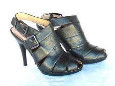 MICHAEL KORS - Kincade Size 9M - GUNMETAL Leather Strap Heels Slingback Sandals