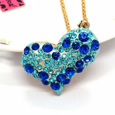 Shiny Crystal Rhinestone Blue Heart Pendant Betsey Johnson Sweater Necklace