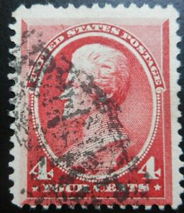 U.S.Stamp:Scott#215, 4c, Carmine,  The American Banknote Co., Issue of 1888