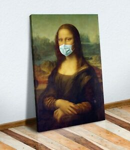 The Mona Lisa wearing face mask CANVAS WALL STREET ART ARTWORK PAINTING PRINT