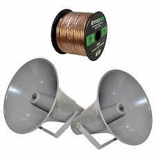 "2 Pyle 13.5"" 70V 50W PA Horn PHSP131T Speakers, 16 Gauge 50 Feet Speaker Wire"