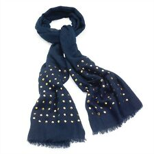 Navy Blue Scarf With Gold Coloured Studs RRP £10.00 - Brand New With Tag