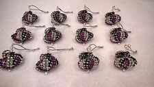 12 HANDMADE CHRISTMAS ORNAMENTS MADE WITH BLING BLACK SILVER AND PURPLE