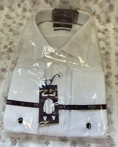 """NEW! M&S Luxury Marks & Spencer 18.5"""" white slim fit cutaway double cuff shirt"""