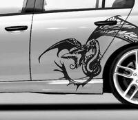 Drachen Aufkleber Auto Autoaufkleber Drache   2er Set   Wunschgröße bis 60cm