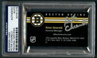 Peter Chiarelli signed autograph auto Boston Bruins GM Business Card PSA Slabbed