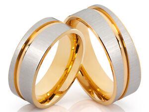 2  Eheringe Verlobungsringe Trauringe Edelstahl Bicolor silber gold & Gravur