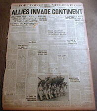 1943 WW II display headline newspaper ALLIES INVADE ITALY Continent of Europe