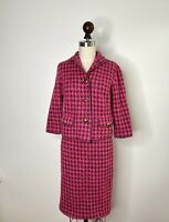 Vintage Houndstooth Pink Chanelesque Boucle Mohair Wool Check Suit blazer skirt