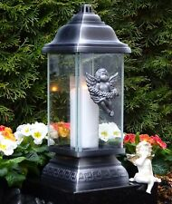 Grablaterne Grablampe Grableuchte Engel Grabschmuck inkl.Grablicht Kerze