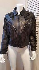 Vintage Leather Motorcycle Jacket Western American w/ Fringe & Cut out flower