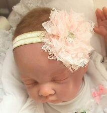 Baby Light Gold Headband with Pale Pink Lace Shabby Style Flower Christening