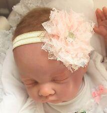 Baby Light Gold Fascia per capelli con rosa chiaro pizzo shabby stile Fiore Battesimo