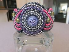 Cabochons and Faceted Violet Crystals Bead Embroidered Cuff Bracelet with Skull