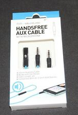 Soundlogic Handsfree Aux Cable with Microphone Auxiliary 4 foot feet 3.5 mm blue