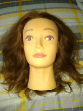 NEW UNUSED STYLING HEAD WITH REAL HAIR AUBURN/RED