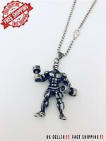 Gym Strong Man Necklace New Fitness Bodybuilding Crossfit Silver Jewellery Pure