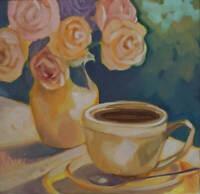 Original Cup and Floral Oil Painting Leni Tarleton