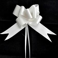 5 x 50mm Large Pull Bows Silver Satin Ribbons Wedding Gifts Wrap Car Decoration