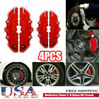 4pcs 3d Style Car Disc Brake Caliper Cover Front Rear Kit Universal Red Ms