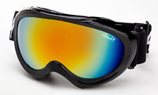 Cloud 9 - Kids Snow Ski Goggles Youth Black Orange Flash Mirror Pouch Included