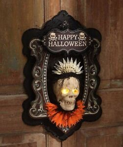 Bethany Lowe 3-D Skeleton Wall Plaque LO6464 Lights Up New