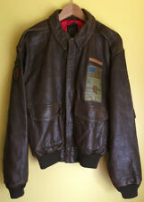 Avirex Flying Tigers Leather Bomber Jacket Size S Embroidered John Wayne RARE