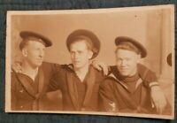 RPPC Antique Postcard of Three Handsome Sailors in Uniform! Military!!! Naval!