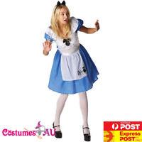 Licensed Alice in Wonderland Costume Disney Fairytale Womens Ladies Fancy Dress