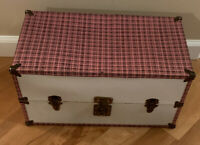 Vintage 1950's Toy Metal Wardrobe Clothing Trunk Carrying Doll Case Pink Checked
