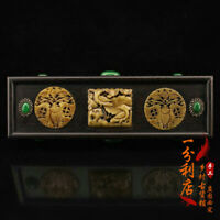 Chinese old antique Gem inlay jade hand carved huanghuali wood box ornament