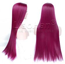 Straight Long Burgundy Wig Highlights Burgundy Lolita Cosplay Wig Anime Hair Wig