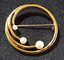 Gold colour gilt metal & pearl vintage Art Deco antique brooch