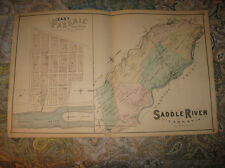 Antique 1876 Saddle River Elmwood Park Fair Lawn Bergen County New Jersey Map Nr