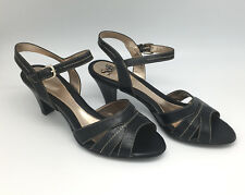 NEW Sofft Black Leather Kesie Strappy Slingback Sandals Heels Shoes Women's 9.5