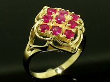 R156- Genuine 9K Solid Yellow Gold NATURAL Ruby CLUSTER Ring size N