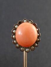 Anciene epingle a cravate / jabot en plaque or corail et perles fines