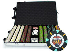 New 1000 Rock & Roll 13.5g Clay Poker Chips Set with Rolling Case - Pick Chips!