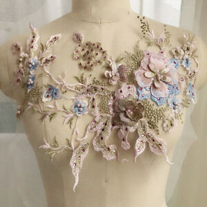3D Flowers Pearl Beaded Lace Applique Wedding Dress Decor Floral Costume New