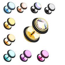 Gemmed & Revo Iridescent & Glitter Opal Metallic Coat Acrylic Fake Plug O-Rings