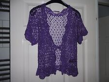 Ladies purple lacy/crochet bolero/shrug/short caridgan size M NWOT