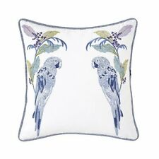 "YVES DELORME PLUMES 18""SQ EMBROIDERED DECORATIVE LINEN PILLOW, BLUE PARROTS"