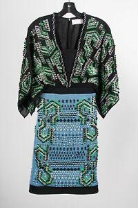 Peter Pilotto Black Green Silk Blend Beaded Sequin Midi Sheath Dress Sz 6