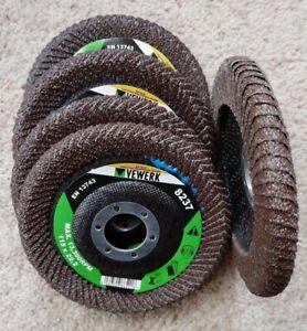 5 x 115mm curved edge flap discs. 60 grit