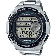 Casio AE3000WD-1AV Men's Stainless Steel 5 Alarms World Time Chronograph Watch